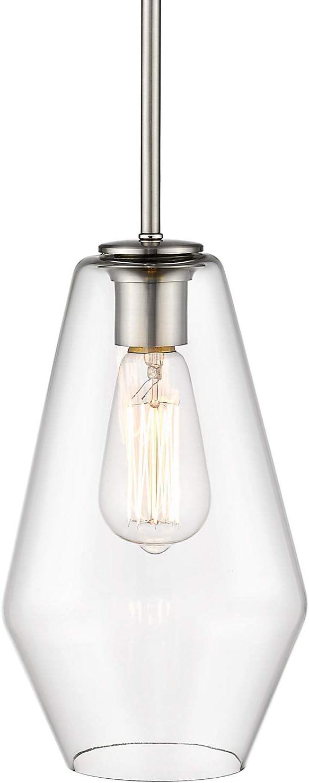Amazon Com Osimir Single Bell Pendant Light Modern Glass Metal Hanging Ceiling Lights Fixture 18 Inch Pendant Lighting In Satin Nickel Finish Ch9177 1a Home Improvement