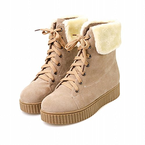 Latasa Mujer Cold Weather Lace Up Tobillo High Flat Oxford Botas Albaricoque