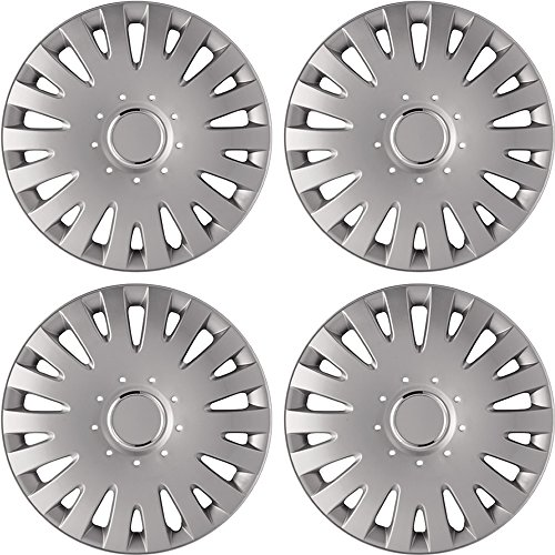 14' Silver Hubcaps (New 4pc SILVER LACQUER ABS Hub Caps for Wheel Cover Caps 14' Set)