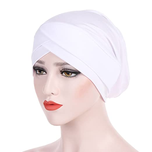 Women Muslim Hijab Cap Ladies Turban Hat Solid Color Stretch Soft Headwrap  Headwear(White)  Clothing eb3f0110408