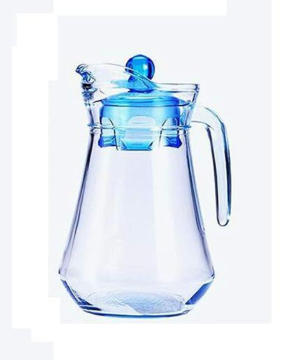 Botella De Agua Fría De Cristal Azul Botella De Agua Sin Plomo con Mango De Cristal
