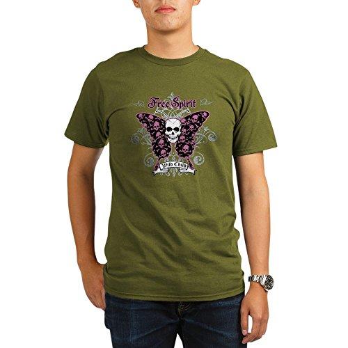 - Royal Lion Organic Men's T-Shirt Dark Butterfly Skull Free Spirit Wild Child - Olive, 2X