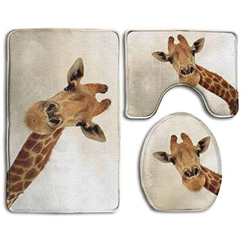 Bath Mat,3 Piece Bathroom Rug Set,Giraffe Flannel Non Slip Toilet Seat Cover Set,Large Contour Mat,Lid Cover For Men/Women