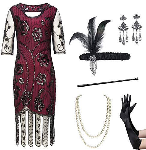 Coucoland Womens 1920s Flapper Sequin Beads Dress with Roaring 20s Gatsby Accessories Set for Party (Wine red, XL) -