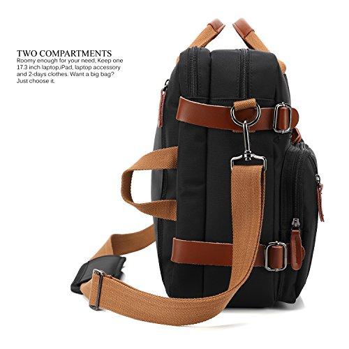 CoolBELL Convertible Backpack Messenger Bag Shoulder bag Laptop Case Handbag Business Briefcase Multi-functional Travel Rucksack Fits 17.3 Inch Laptop For Men / Women (Black)