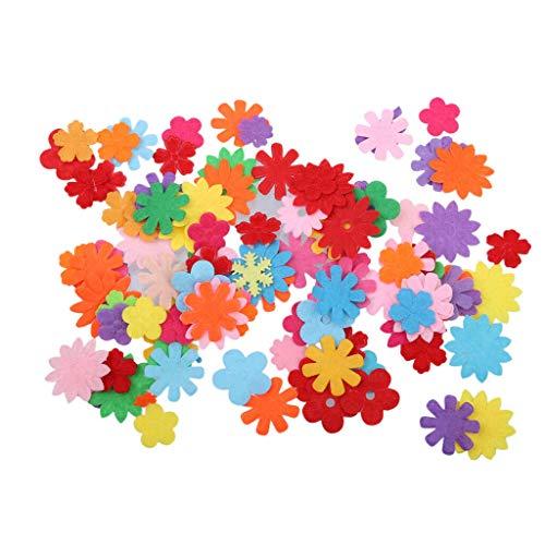 100pcs Mixed Felt Round Heart Flower Shapes for Art Project Craft Home Decor | Shape - Flower