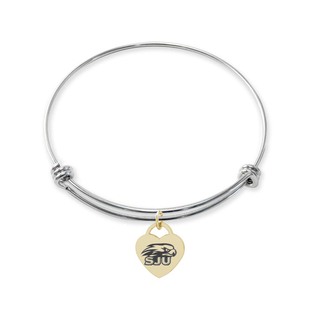 College Jewelry Saint Josephs Hawks Stainless Steel Adjustable Bangle Bracelet with Yellow Gold Plated Heart Charm
