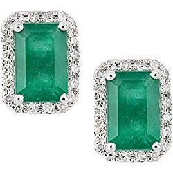 Revoni 18K White Gold Emerald and Diamond Square Stud Earrings