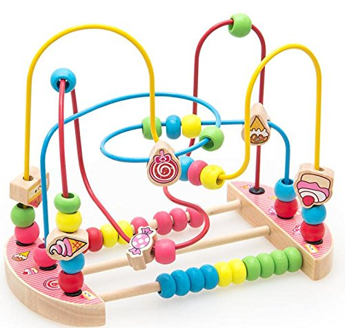 Baby Toddler Kids Gifts Creative Wooden Abacus Circle Toy Educationnal Bead Maze Creative Gifts for Kids(Candy)