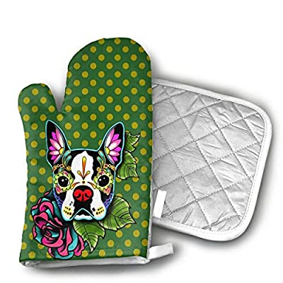 TRENDCAT Tatoo Boston Terrier Oven Mitts and Potholders (2-Piece Sets) - Extra Long Professional Heat Resistant Pot Holder & Baking Gloves - Food Safe