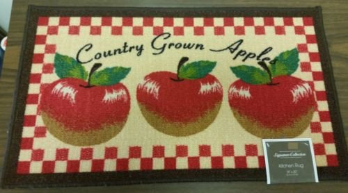 The Pecan Man Country Grown Apples KITCHEN RUG (non skid latex back),1Pcs 18x30''