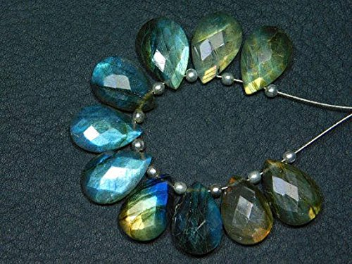 JP_Beads 1 Strand Natural-Labradorite Faceted Pear Teardrops Briolettes -Stones Measure- ()