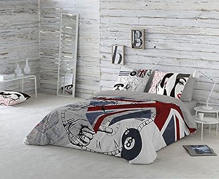 Euromoda Teléfono Funda Nórdica, 100% algodón, Gris, Cama 150: Amazon.es: Hogar