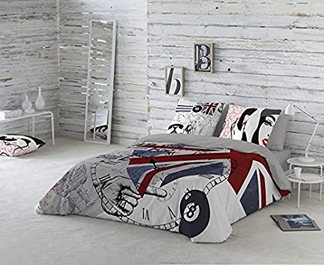 Euromoda Teléfono Funda Nórdica, 100% algodón, Gris, Cama 135: Amazon.es: Hogar