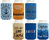 funny beer cooler - Funny Beer Coolie Gift Bundle Nautical Themed Boating Sailing Sayings Gag Gift 6 Pack Can Coolie Drink Coolers Coolies Multi