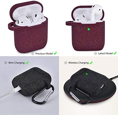 AIRSPO Airpods Case Silicone Case for AirPods Charging Case 2 & 1 [Front LED Visible] Bling Glitter Luxury Shockproof Protective Cover Skin with Anti-Lost Carabiner (Black+Burgundy) 51wfzaJSmkL