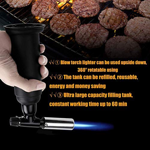 Blow Torch Lighter, Kitchen Butane Torch Lighter, Cooking Refillable Culinary Torch Butane for BBQ, Baking, Creme Brulee, Soldering, Camping by Ofone (Image #4)