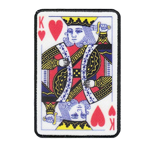 King of Hearts Card Digitally Printed Embroidered Iron On - Card Patch