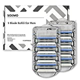 #6: Amazon Brand – Solimo 3-Blade Razor Refills for Men, 8 Refills