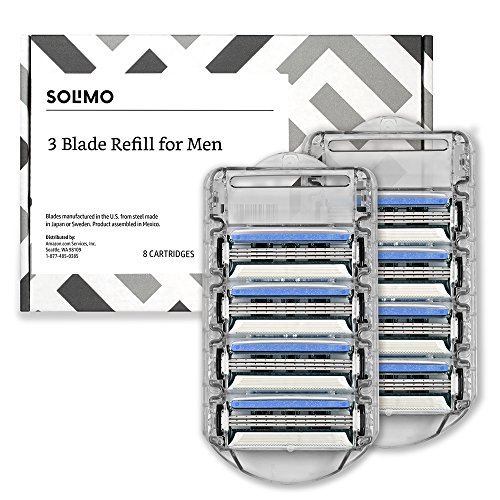 Solimo 3-Blade Razor Refills for Men, 8 Refills (Fits Solimo Razor Handles only)