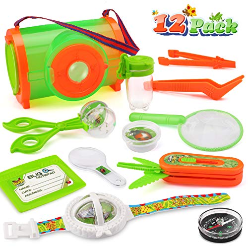 Outdoor Bug Catcher Kit for Kids-12Pcs Bug Insect Catching & Observation Kit-Bug Catcher-Compass-Magnifying Glass- Mesh Critter Case+Bug Collector-Butterfly Net & Tweezers- Bug toys for kids 3+