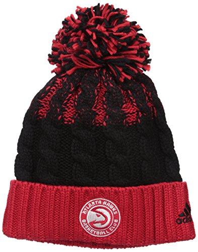 fan products of NBA Atlanta Hawks Retro Cuffed Knit With Pom, Red/Black, One Size