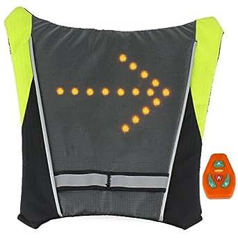 LED Turn Signal Biker Backpack Turn Signal Light Reflective Vest Backpack Sport Outdoor Waterproof for Safe
