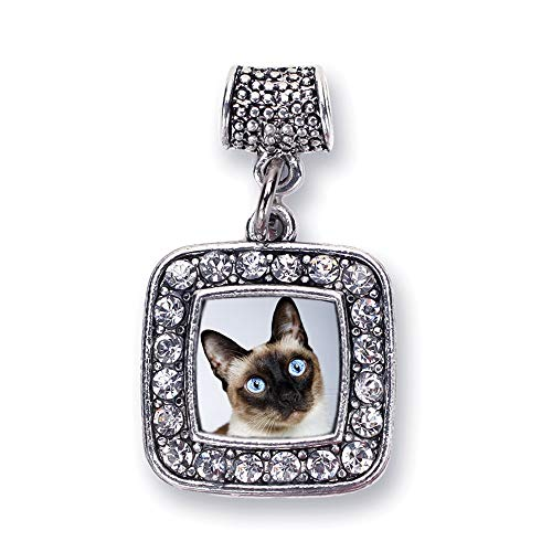 Inspired Silver - Siamese Cat Memory Charm for Women - Silver Square Charm for Bracelet with Cubic Zirconia Jewelry ()