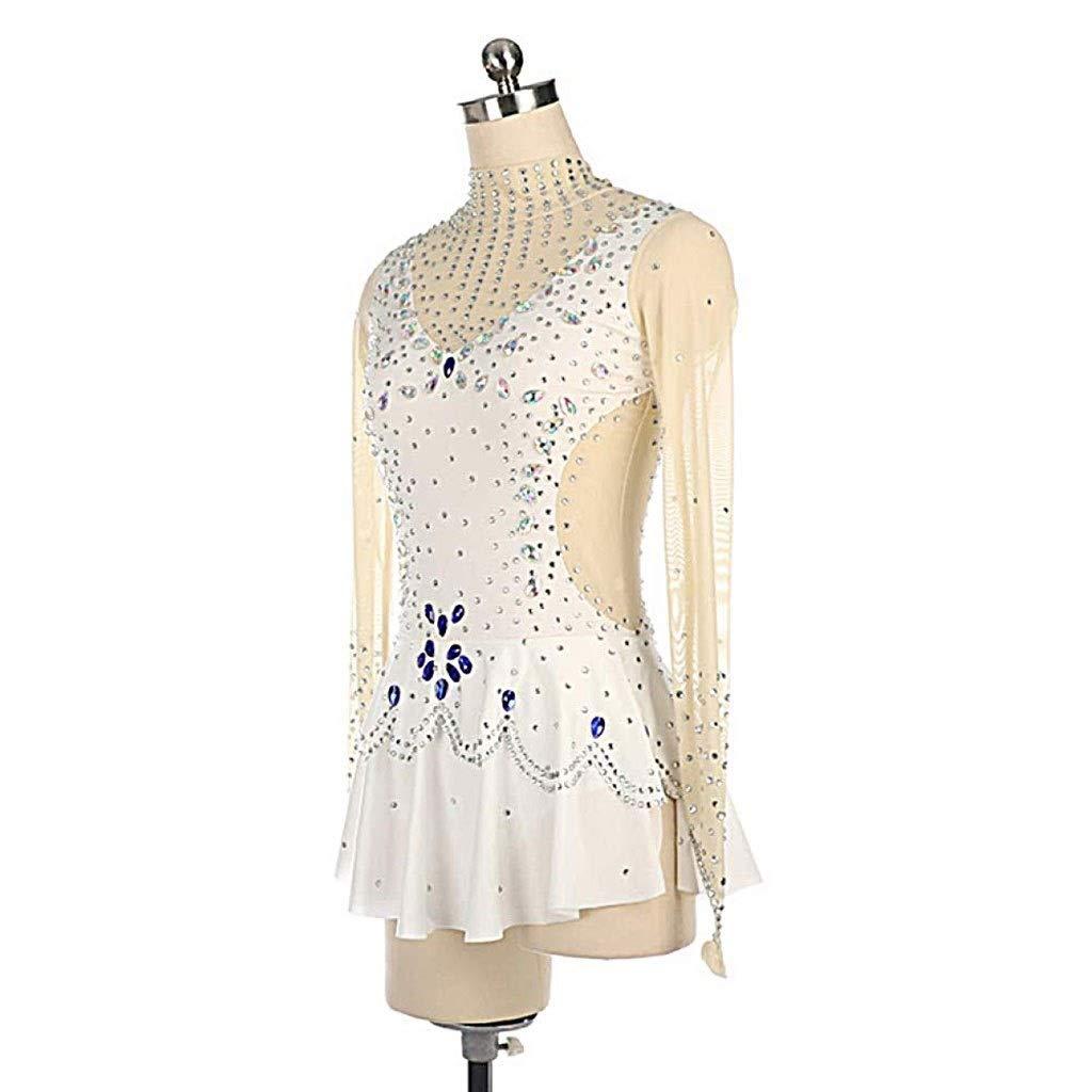 女子フィギュアスケートの少女ドレス、手作りのロングスリーブラインストーンスケート高弾性プロフェッショナル部門デイリースケートを着用してください (Size : Child6)