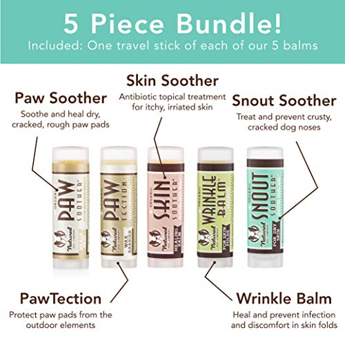 Natural Dog Company Powerhouse Bundle, Includes 5 Healing Balms that Relieve Skin Irritations, Cracked Paws and Dry…