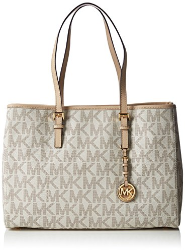 Michael Kors Handbag Jet Set Large Travel Signature PVC East West Tote in Vanilla (Michael Kors Jet Set Monogram Signature Tote)