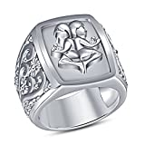 TVS-JEWELS Astrology Zodiac Sign Unique Round Cut White Sim. Diamond 925 Sterling Silver Men's Ring (11)