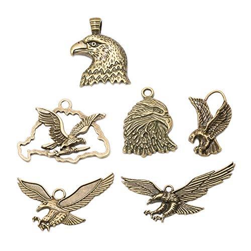 - 24pcs Vintage Antique Bronze Alloy Hawk Eagle Charms Pendant Jewelry Findings for Jewelry Making Necklace Bracelet DIY 50x25mm(24pcs Hawk Eagle)