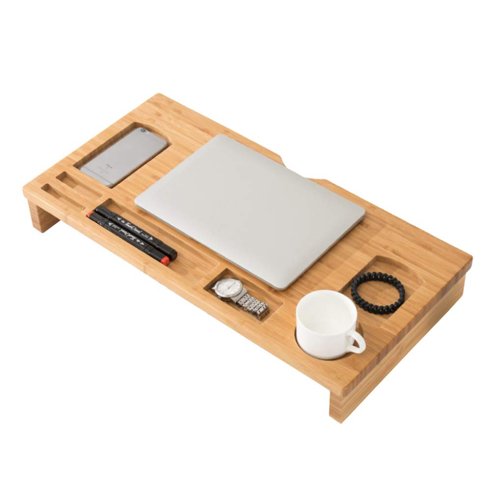 LIULIFE Desktop Monitor Stand Natural Bamboo Riser Desk Supplies Organisers with Storage Slots for Laptop TV Home Work