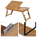GOTOTOP Bamboo Laptop Desk Adjustable Foldable Breakfast Serving Bed Tray with Tilting Top Drawer