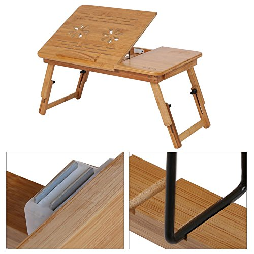 GOTOTOP Bamboo Laptop Desk Adjustable Foldable Breakfast Serving Bed Tray with Tilting Top Drawer by GOTOTOP