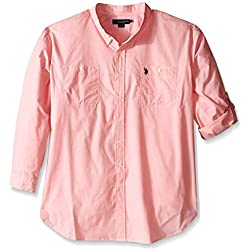 U.S. Polo Assn.. Men's Big-Tall Long Sleeve Slim Fit Button Down Sport Shirt, Pink Coral, 3X