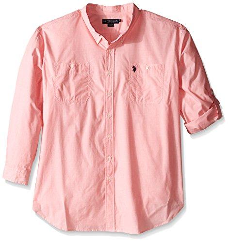 U.S. Polo Assn.. Men's Big-Tall Long Sleeve Slim Fit Button Down Sport Shirt, Pink Coral, 3X