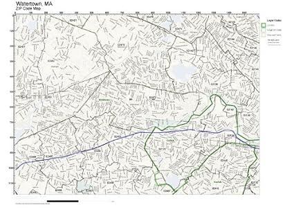 Amazon.com: ZIP Code Wall Map of Watertown, MA ZIP Code Map Not ...