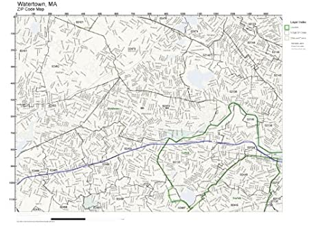 Amazon.com: ZIP Code Wall Map of Watertown, MA ZIP Code Map ...