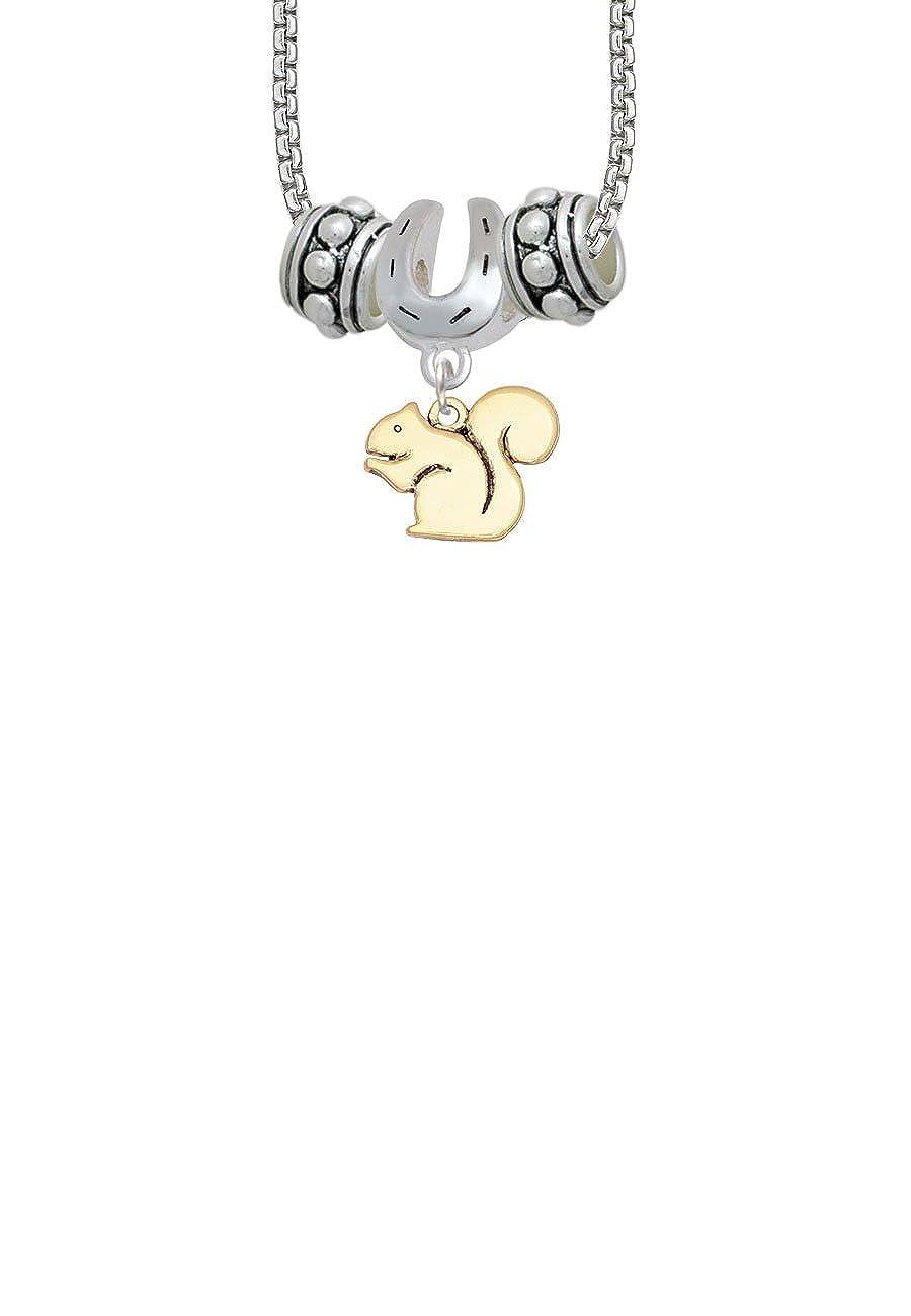 Squirrel Horseshoe 3 Bead Necklace