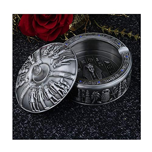 (Zr Upscale European Retro Living Room Decoration Ashtray Personality Creative Large with Cover Alloy Ashtray 11X6cm (Color : Ancient tin Color))