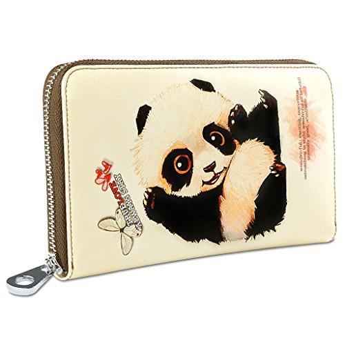 YALUXE Women's Cute Animal Print Large Leather Clutch Zipper Wallet Smartphone Checkbook Holder Panda