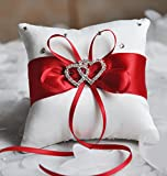 he andi 7.8'' Satin Double Hearts Decoration Wedding Ring Bearer Pillow (Red)