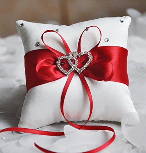 he andi 7.8'' Satin Double Hearts Decoration Wedding Ring Bearer Pillow (Red) by he andi