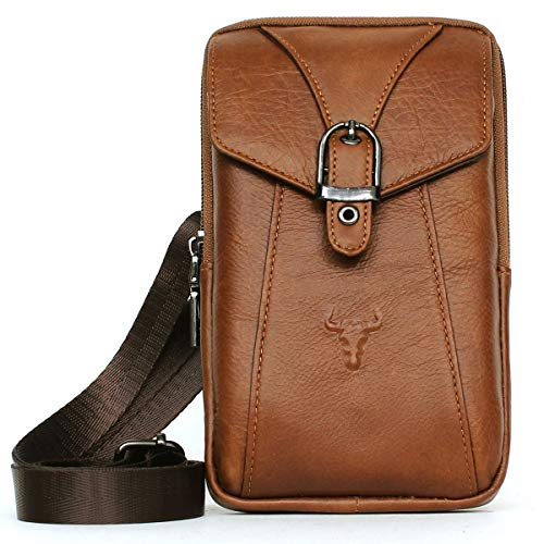 Phone purse iPhone 8 plus Leather cell phone holster case belt loop carrying case bag (Brown ()