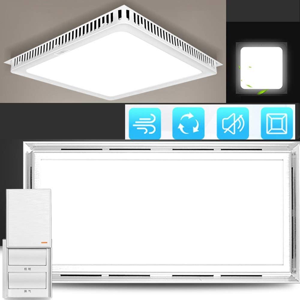 220v Rectangular Ventilador de ventilación silencioso, 30x60cm Rectangular Multifuncional Ventilador de escape, 40w Ventilador Extractor de baño/cocina, Ventilación iluminación,White-button-switch: Amazon.es: Hogar