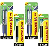Pilot Precise V5 RT Retractable Rolling Ball Pens, Extra Fine Point, Black Ink, 6 Pens (4-Pack/Bundle, Blue)