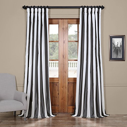 - Half Price Drapes PTSCH-11089-108 Faux Silk Taffeta Stripe Curtain, Presidio