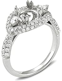 1.83 Carat (Ctw) 18k White Gold Round & Pear Diamond Semi Mount 3 Stone Bridal Ring (No Center Stone)